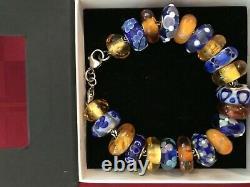 002 TROLLBEADS BRACELET Blue and Gold Theme, 21 Beads, 7.9 Bracelet (withClasp)