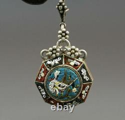 1880 Venetian Micro-mosaic Birds Octagonal Earrings St. Silver Etruscan Revival