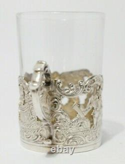 1890 Cased set of 6 Sterling Silver & Glass Whiskey Tots Atkin Brothers