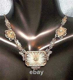 1920s 3 Piece Camphor Glass Necklace Sterling Filigree Lavalier 3 Camphor Glass