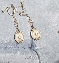 1920s CAMPHOR Glass Earrings Lovely Art Deco Silver with 2 Long Dangle Filigree