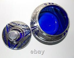 1920s Vintage Cobalt Blue Bowl and Lid With Sterling Silver Overlay