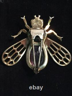 1940s Jomaz Joseph Mazer Rhinestone Statement BEE Brooch/Pin Sterling Silver