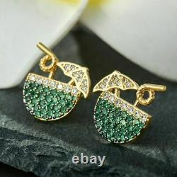 2Ct Round Green Emerald Cluster Drink Glass Stud Earrings 14K Yellow Gold Finish