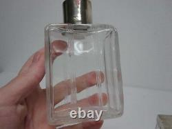 2 ANTIQUE FRENCH GLASS VANITY JAR & BOTTLE with STERLING SILVER TOPS