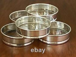 (5) Tiffany Sterling Silver & Cut Glass Coasters No Monogram