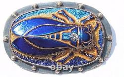 925 Sterling Silver Iridescent Blue Glass Insect Cicada Bug Pin Brooch Egyptian