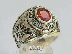 925 Sterling Silver January Garnet Birthstone Knights Templar Men Ring Size 11