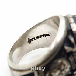 925 Sterling Silver Vintage 1977 Glass Pleasant Valley High School Ring Size 9