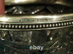 AMERICAN BRILLIANT PERIOD (ABP) CUT GLASS 8 BOWL, STERLING SILVER RIM, c. 1900