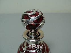 ANTIQUE ART NOUVEAU CRANBERRY GLASS PERFUME BOTTLE with STERLING SILVER OVERLAY
