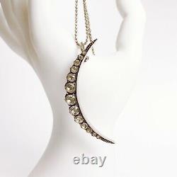 ANTIQUE Georgian Sterling 925 Closed Back Diamond Paste Crescent Moon Pendant