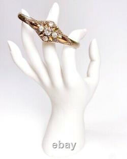ANTIQUE Georgian Sterling Silver Cannetille with 14k Gold Crystal Paste Bracelet