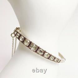 ANTIQUE Georgian Sterling Silver with 10k Rose Gold Paste Diamond Cuff Bracelet