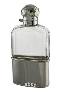 ANTIQUE Solid Sterling Silver & Glass HIP FLASK Mappin & Webb 1900