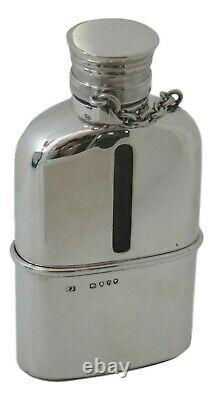 ANTIQUE Solid Sterling Silver & Glass HIP FLASK Thomas Johnson 1879