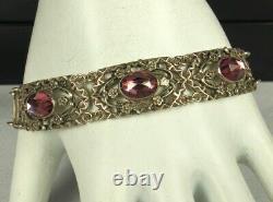 ART DECO Bracelet 1930s STERLING Silver AMETHYST Art Glass Crystals 7 Long FAB