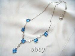 ART DECO STERLING SILVER Sapphire Paste Open Back Bezel Crystal Vintage NECKLACE