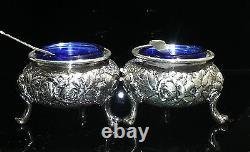 A. Jacobi & Co. Rose Repousse Sterling Silver Pair of Salt Cellars Cobalt Glass