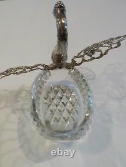 Albert Bodemer Swan Cut Crystal & Sterling Silver Caviar Dish / Master Salt