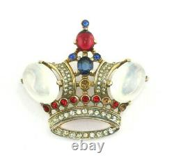 Alfred Philippe Trifari Sterling Silver Large Moonstone Rhinestone Crown Brooch