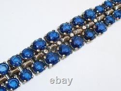Alfred Philippe Trifari Sterling Silver Sapphire Blue Glass Rhinestone Necklace