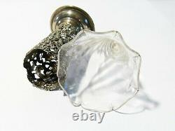 Antique 1899 Sterling Silver Repousse Glass Epergne Vase Posy Holder Victorian