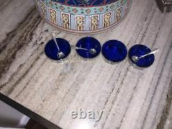 Antique 2 STERLING & BLUE COBALT GLASS SALT CELLARS & SPOONS Set Of 4