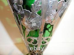 Antique Alvin, Gorham very tall sterling overlay glass vase