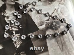 Antique Art Deco 30s Sterling Silver Rock Crystal Glass Riviere Necklace