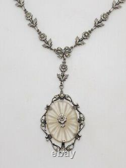 Antique Art Deco Camphor Glass Marcasite Necklace Sterling Silver 16