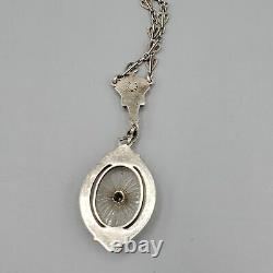 Antique Art Deco Camphor Glass Sterling Silver Etched Heart Chain Necklace 17