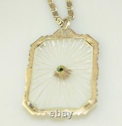 Antique Art Deco Sterling Silver Camphor Glass Pendant 17 Fancy Snail Necklace