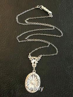Antique Art Deco Sterling Silver Necklace Diamond Camphor Glass 17.5 4g #1076