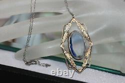 Antique Art Deco Sterling Silver Sapphire Paste Pendant Necklace
