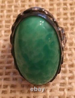 Antique Art Nouveau Sterling Silver Peking Glass Foliage Leaf Design Ring