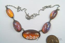Antique Arts & Crafts Sterling Silver Jelly Opal Glass Necklace & Brooch Set