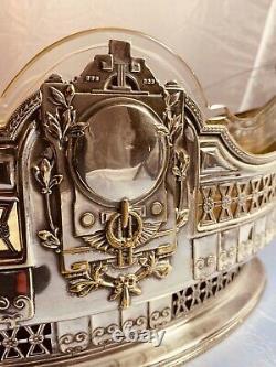 Antique Austrian Sliver And Glass Bowl