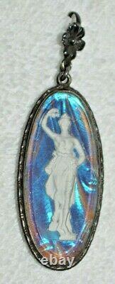 Antique Butterfly Wing GODDESS STERLING SILVER ENGLAND Pendant intaglio cameo