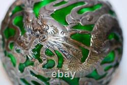 Antique Chinese Green Glass & Sterling Silver Dragon Decanter Bottle 6