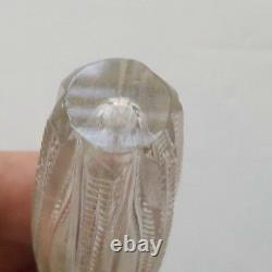 Antique Cut Glass Chatelaine Scent Bottle, Sterling Silver Top