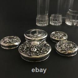 Antique Cut Glass / Crystal Vanity / Dresser Jars Sterling Silver Lids Set of 5