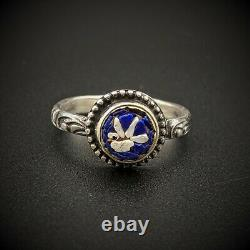 Antique Dove Bird Micro Mosaic Sterling Silver Ring