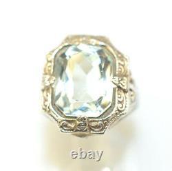 Antique Edwardian Sterling Silver Filigree Faux Aquamarine Ring Size 2.5