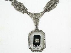 Antique Edwardian Sterling Silver Filigree Link Camphor Glass Necklace 19g B34