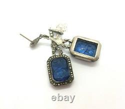 Antique Edwardian Sterling Silver Marcasite Zodiac Intaglio Glass Earrings