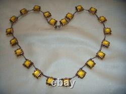 Antique Edwardian Sterling Silver Uranium Paste Open Back Bezel Riviere Necklace