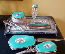 Antique F&B Sterling Silver & Turquoise Guilloche 8 pc Vanity Set Perfume Bottle