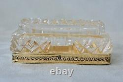 Antique French Gold On Sterling Silver Cut Glass Crystal Crown Mono Perfume Box