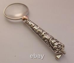 Antique French Silver Chatelaine Ladies Magnifier Glass